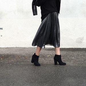 Zara Metallic Silver A-Line Midi Skirt-S